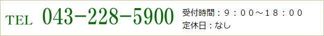 TEL 043-228-5900 受付時間:9:00~18:00 定休日:なし