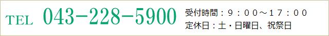 TEL.043-228-5900 受付時間:9:00~17:00 定休日:土・日曜日、祝祭日